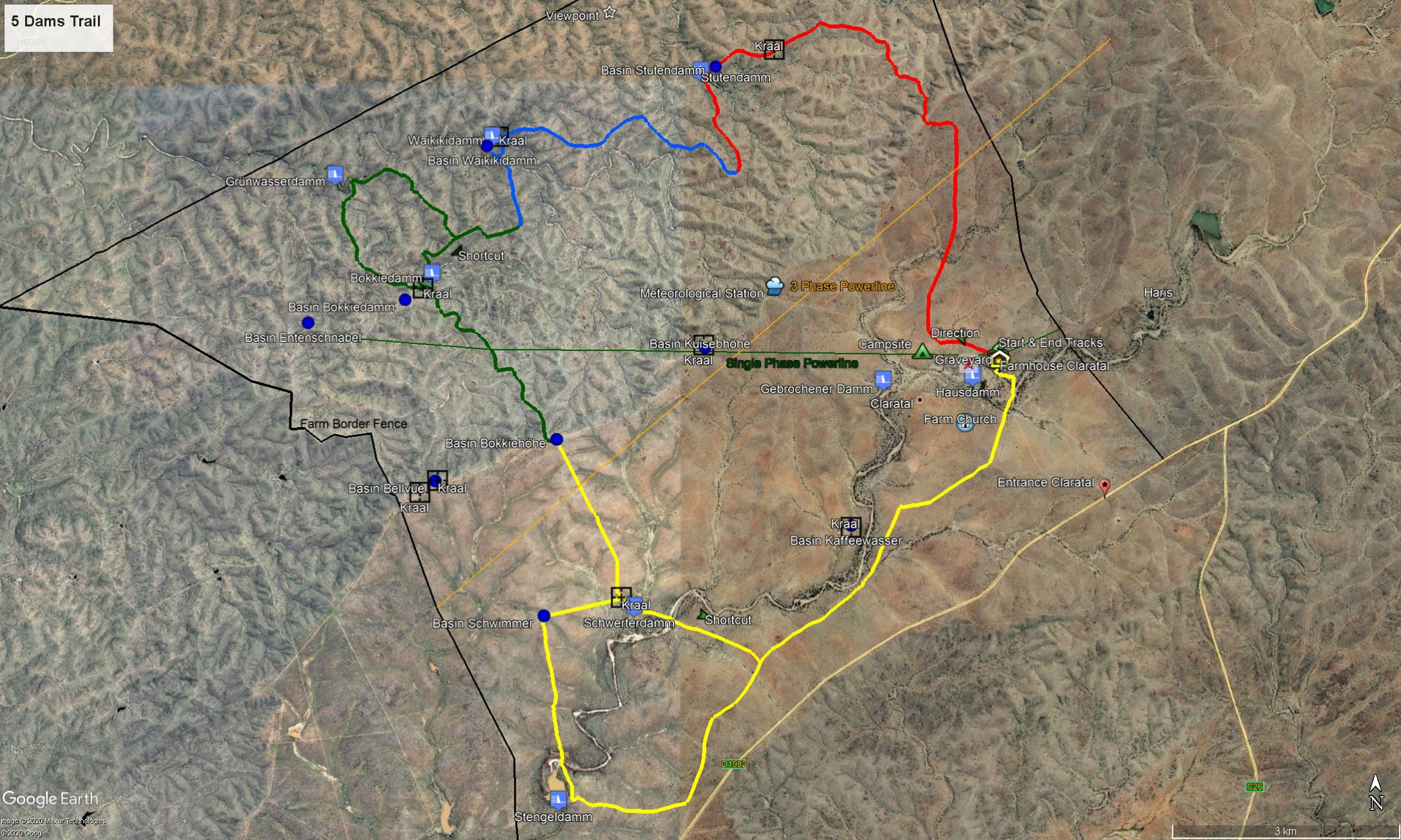 Map 5 Dams Trail