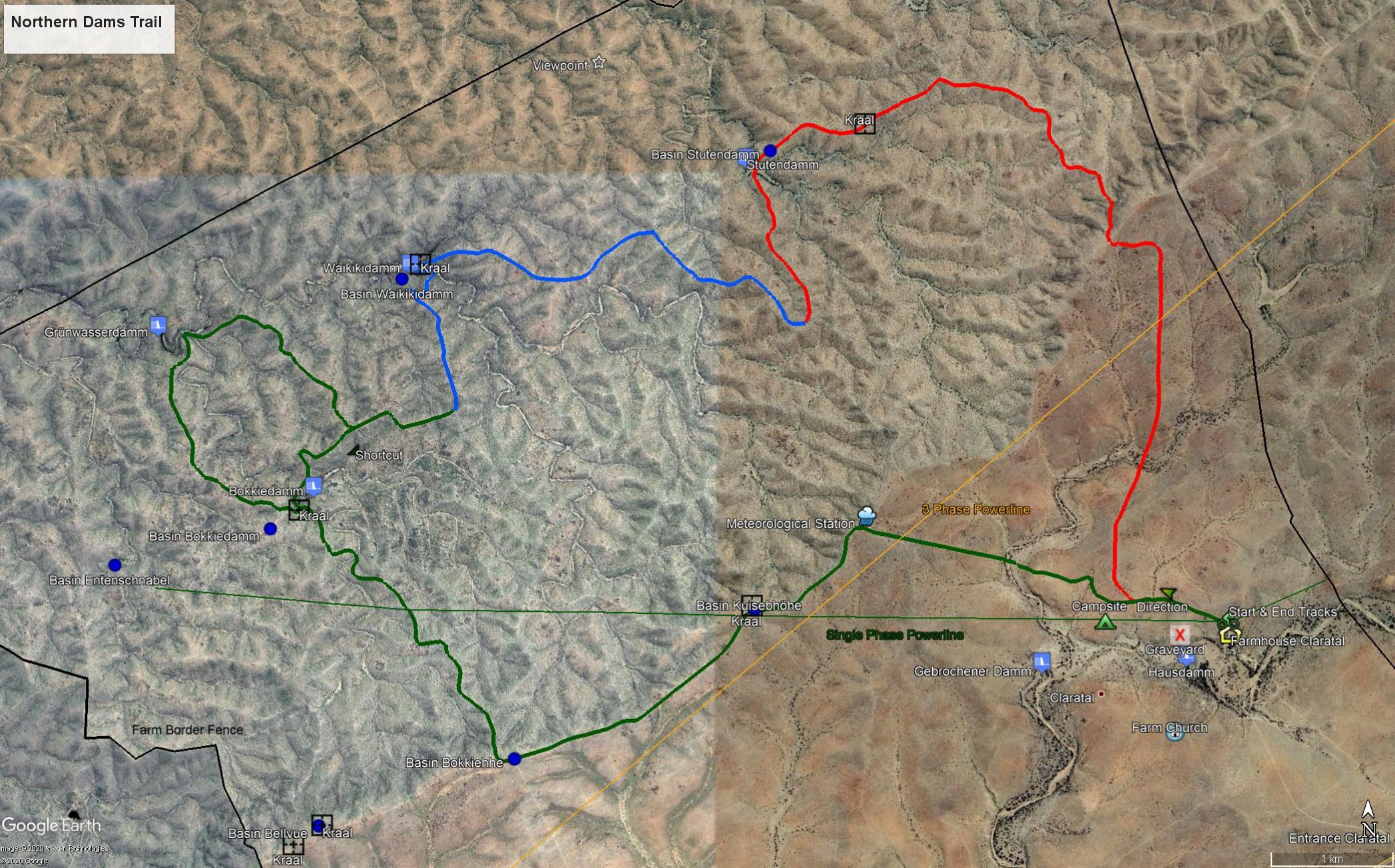 Map Northern Dams Trail